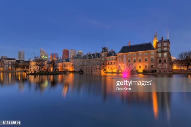 Netherlands, The Hague, Binnenhof Dutch Parliament buildings at night