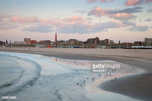 Netherlands, The Hague, Scheveningen, Beach in the evening light