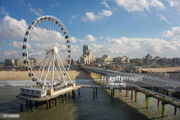 Netherlands, The Hague, Scheveningen, Ferris wheel, pier, beach and spa hotel