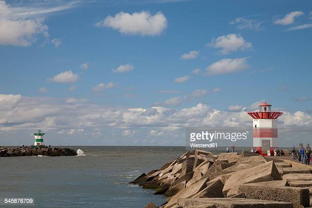 Netherlands, The Hague, Scheveningen, port entrance and lighthouses