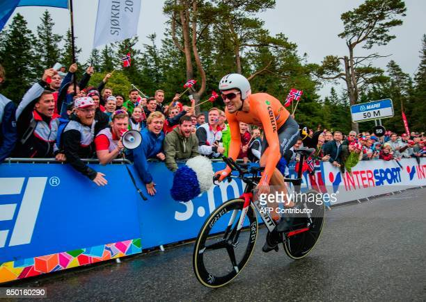Netherlands' Tom Dumoulin competes during the men elite individual time trial at the UCI Cycling Road World Championships on September 20 2017 in...