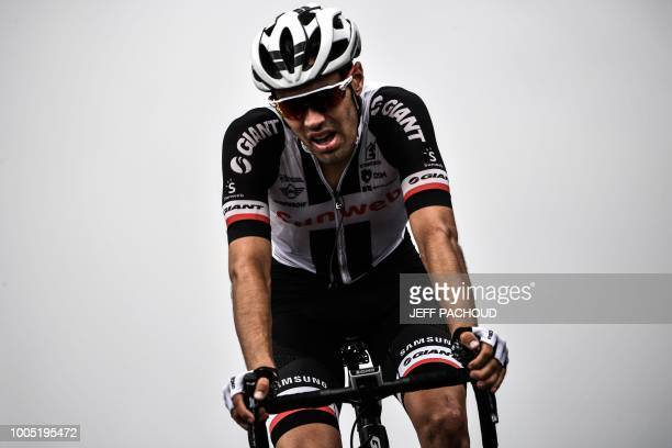 Netherlands' Tom Dumoulin crosses the finish line ta place 5th of the 17th stage of the 105th edition of the Tour de France cycling race between...