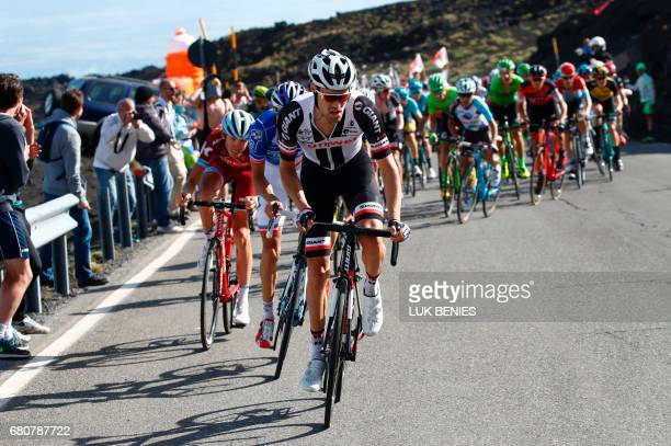 Netherlands' Tom Dumoulin of team Sunweb climbs the Mount Etna during the 4th stage of the 100th Giro d'Italia Tour of Italy cycling race from Cefalu...