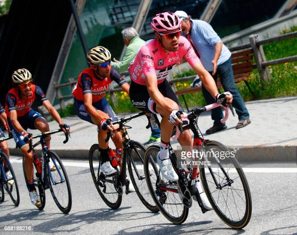 Netherlands' Tom Dumoulin of team Sunweb rides ahead Italy's rider of team Bahrain Merida Vincenzo Nibali during the 18th stage of the 100th Giro...