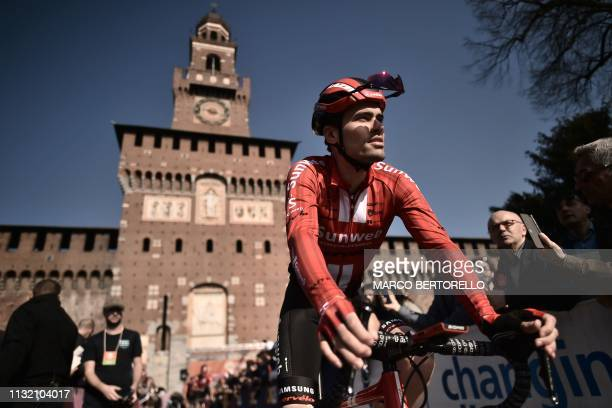 Netherlands' Tom Dumoulin prepares to take the start of the oneday classic cycling race Milan San Remo on March 23 2019 in Milan