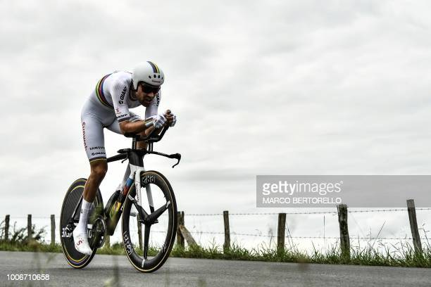 Netherlands' Tom Dumoulin rides during the 20th stage of the 105th edition of the Tour de France cycling race a 31kilometer individual timetrial...