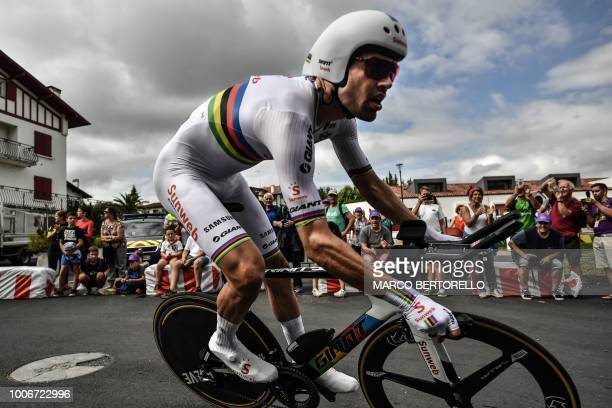 TOPSHOT Netherlands' Tom Dumoulin rides on his way to win the 20th stage of the 105th edition of the Tour de France cycling race a 31kilometer...
