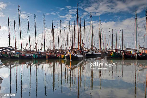 Netherlands, traditional sailing ships in harbour
