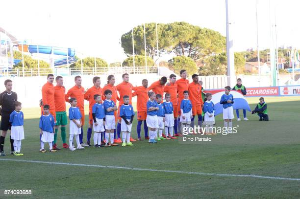 Netherlands U20 players poses before the 8 Nations Tournament match between Italy U20 and Netherlands U20 at Stadio G Teghil on November 14 2017 in...