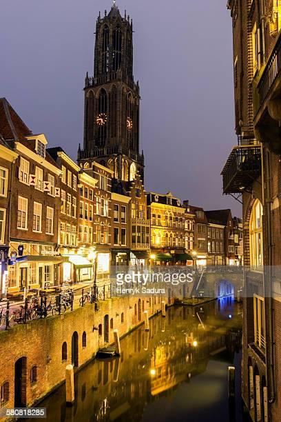 Netherlands, Utrecht, Canal at sunset