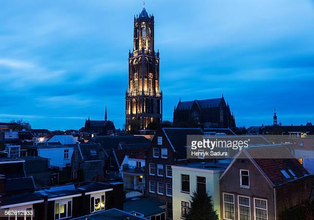 Netherlands, Utrecht, Dom Tower of Utrecht, View of illuminated tower in city
