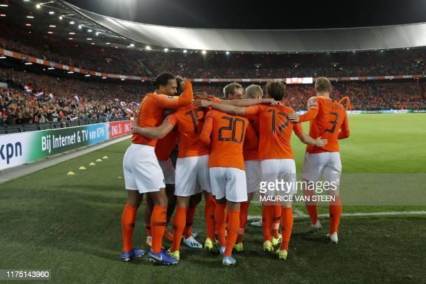 Netherlands' Virgil van Dijk Luuk de Jong Donyell Malen Frenkie de Jong Donny van de Beek Daley Blind and Matthijs de Ligt celebrate after a goal...