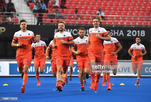 Netherlands warm up during the FIH Men's Hockey World Cup Group D match between Germany and Netherlands at Kalinga Stadium on November 5 2018 in...