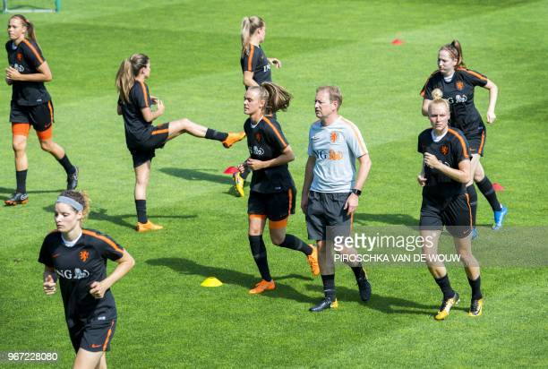 Netherlands women's national football team take part in a training session in Zeist on June 4 ahead of the World Cup qualifying match between the...