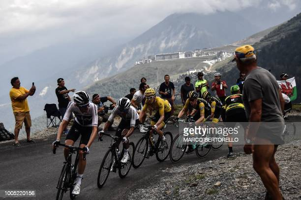 Netherlands' Wout Poels Colombia's Egan Bernal Great Britain's Geraint Thomas wearing the overall leader's yellow jersey Netherlands' Steven...