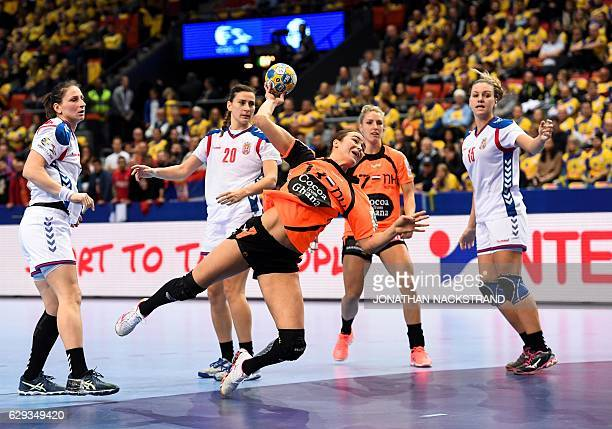 Netherlands' Yvette Broch prepares to throw the ball during the Women's European Handball Championship Group I match between Serbia and Netherlands...