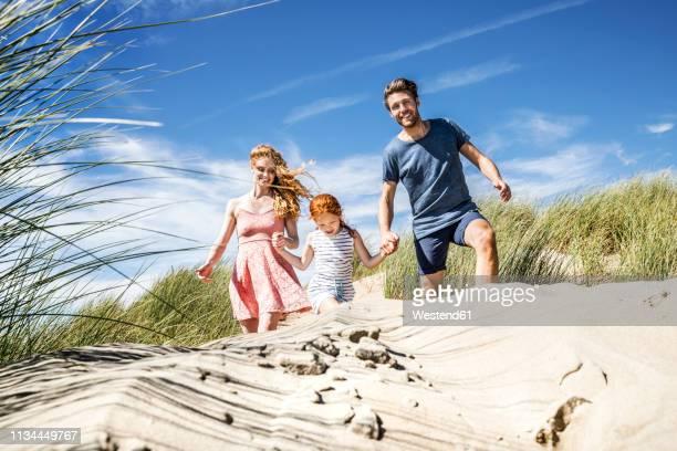 netherlands, zandvoort, happy family with daughter in beach dunes - familie met één kind stockfoto's en -beelden