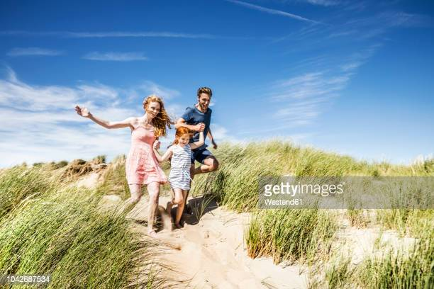 netherlands, zandvoort, happy family with daughter running in beach dunes - family vacation stock pictures, royalty-free photos & images