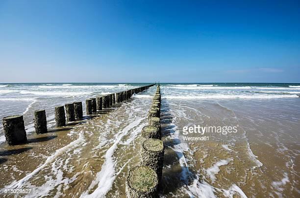 netherlands, zeeland, walcheren, domburg, beach with breakwaters - zeeland stock pictures, royalty-free photos & images