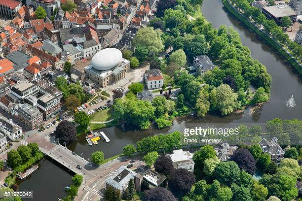netherlands, zwolle, city center with museum de fundatie. aerial - zwolle stock pictures, royalty-free photos & images