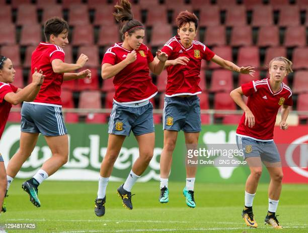 Spain's players take part in an athletic training session