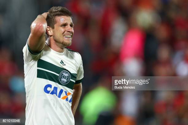 Neto Berola of Coritiba reacts during a match between Flamengo and Coritiba as part of Brasileirao Series A 2017 at Ilha do Urubu Stadium on July 22,...