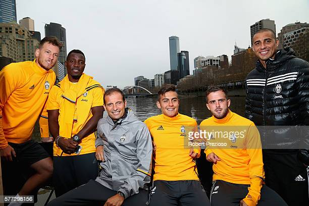 Neto Kwadwo Asamoah Massimiliano Allegri Paulo Dybala Miralem Pjanic and David Trezeguet pose during a Juventus boat ride along the Yarra River on...
