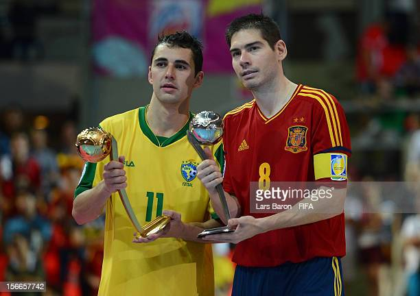 Neto of Brazil is seen with the adidas Golden Ball Award and Kike of Spain is seen with the adidas Silver Ball Award after the FIFA Futsal World Cup...