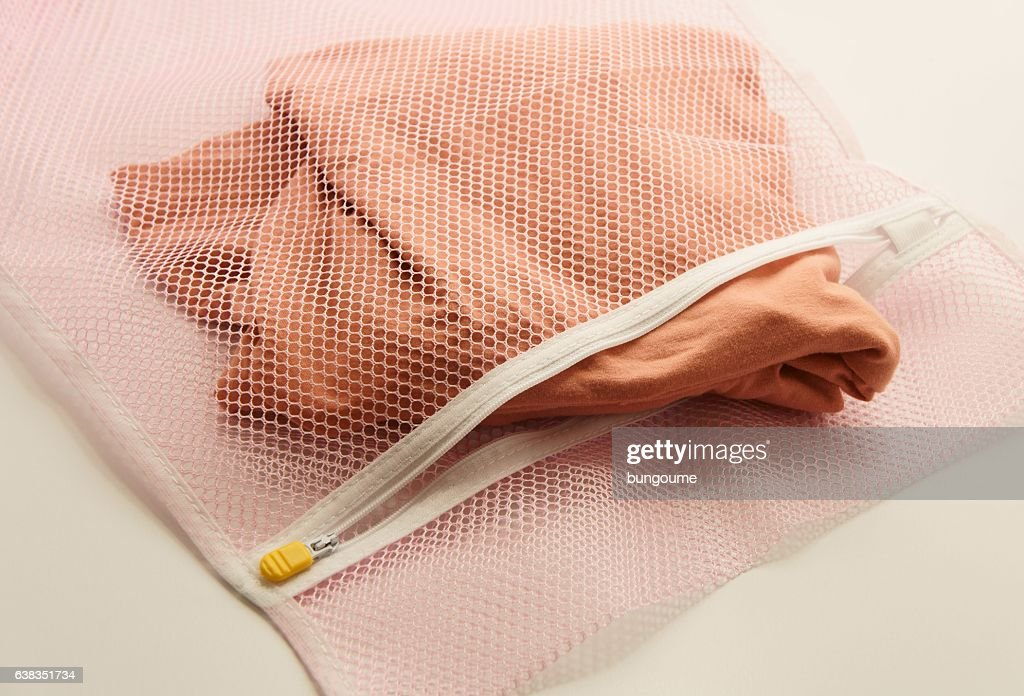 Nets laundry bag, for washing clothes  in washing machine : Stock Photo