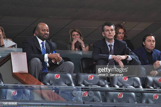 Nets owner Mikhail Prokhorov and GM Billy King watch the Utah Jazz against the New Jersey Nets game on January 19 2011 at the Prudential Center in...