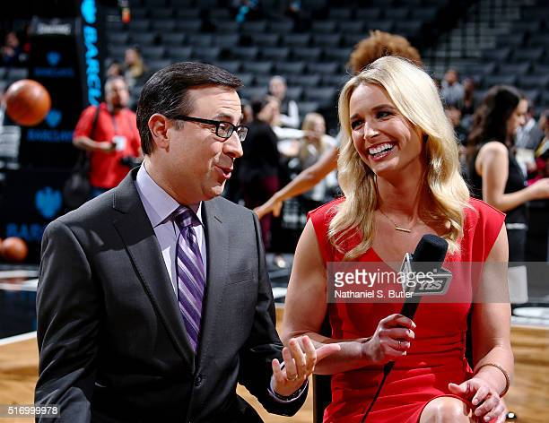 Nets sideline reporters Ian Eagle and Sarah Kustok before the Brooklyn Nets against Charlotte Hornets on March 22 2016 at Barclays Center in Brooklyn...