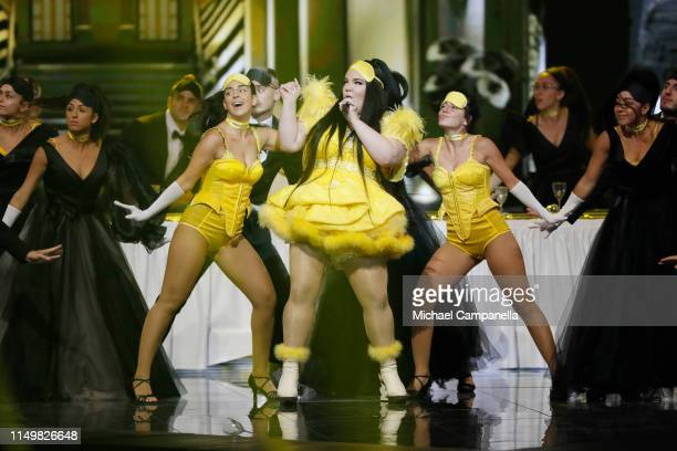 Netta Barzilai performs live on stage during the 64th annual Eurovision Song Contest held at Tel Aviv Fairgrounds on May 17 2019 in Tel Aviv Israel