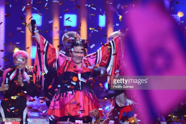 Netta Barzilai representing Israel wins the Grand Final of the 2018 Eurovision Song Contest at Altice Arena on May 12 2018 in Lisbon Portugal