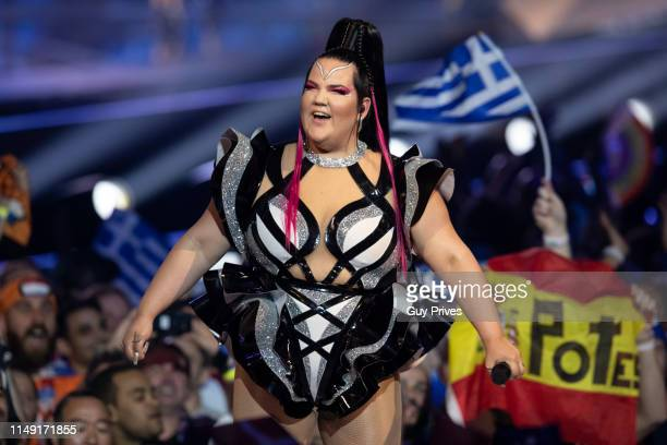 Netta Barzilai Winner of the 2018 Eurovision award performs during the 64th annual Eurovision Song Contest held at Tel Aviv Fairgrounds on May 14...