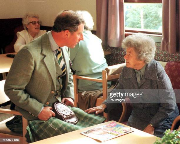 Netta Doull in deep conversation with the Prince of Wales during his visit today to the Laurandy Day Centre near Wick POOL Photo by Chris Bacon/PA