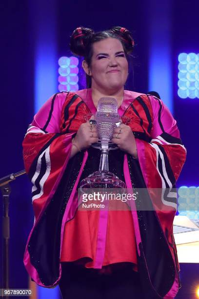 Netta of Israel raises the Trophy after winning the 2018 Eurovision Song Contest Grand Final at the Altice Arena in Lisbon Portugal on May 12 2018