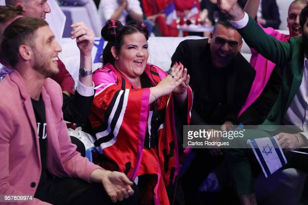 Netta of Israel reacts in the green room after winning the Eurovision 2018 Grand Final at Altice Arena on May 12 2018 in Lisbon Portugal