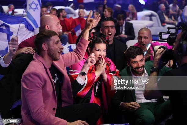 Netta of Israel reacts in the green room during the Eurovision 2018 Grand Final at Altice Arena on May 12 2018 in Lisbon Portugal