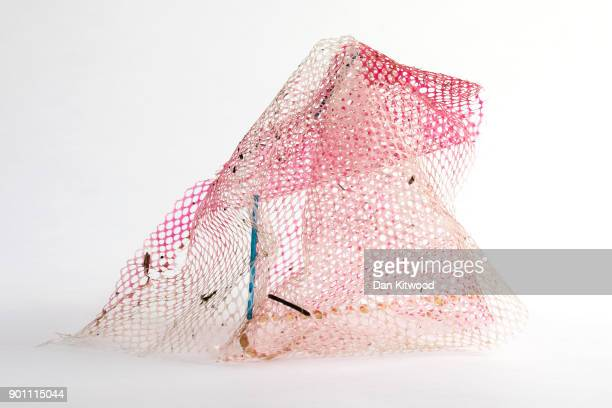 Netting found on the shore of the Thames Estuary on January 2 2018 in Rainham Kent Tons of plastic and other waste lines areas along the Thames...