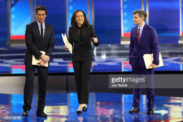 ABC network anchors and debate moderators David Muir Linsey Davis and George Stephanopoulos speak on stage prior to the Democratic presidential...