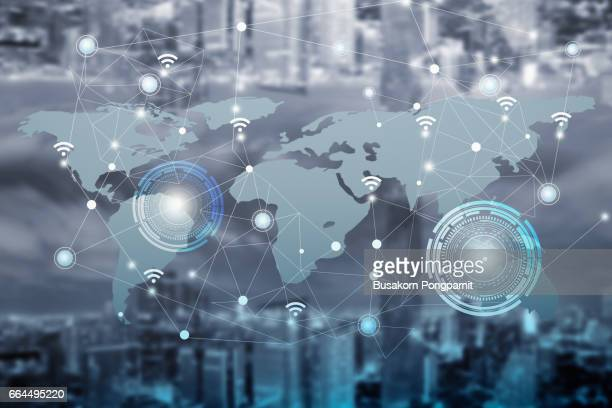 Network and Connection technology concept with city background