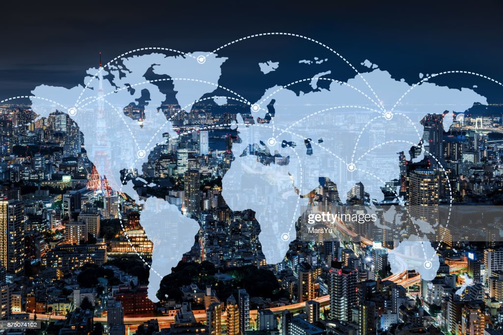 Network and world map  of Japan : Stock Photo