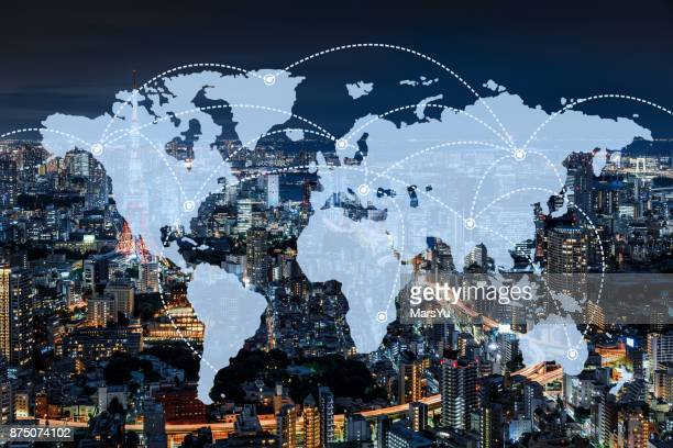 network and world map  of japan - world map stock photos and pictures