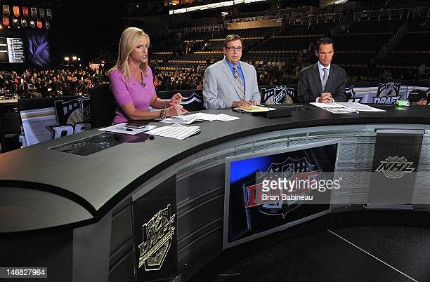 NHL Network Broadcaster Kathryn Tappan EJ Hradek and Peter Loubardias provide commentary during Round One of the 2012 NHL Entry Draft at Consol...