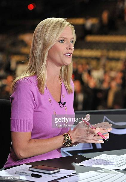 Network Broadcaster Kathryn Tappan provides commentary during Round One of the 2012 NHL Entry Draft at Consol Energy Center on June 22 2012 in...