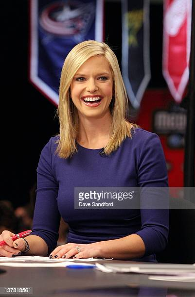 Network broadcaster Kathryn Tappen laughs on set during a NHL Network broadcast at the 2012 NHL AllStar Game Player Media Availability at the Westin...