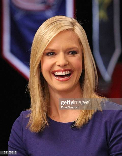 Network broadcaster Kathryn Tappen laughs on set during an NHL Network broadcast at the 2012 NHL AllStar Game Player Media Availability at the Westin...