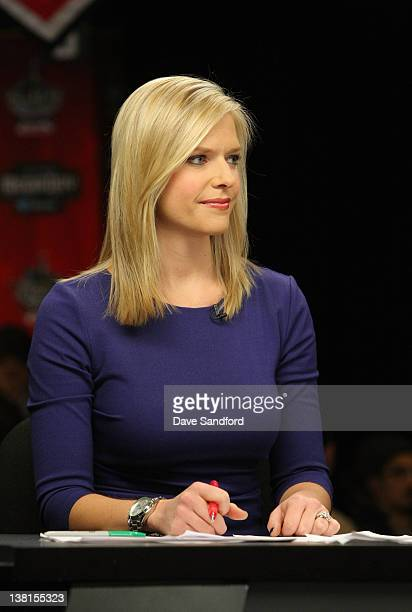 Network broadcaster Kathryn Tappen looks on during an NHL Network broadcast at the 2012 NHL AllStar Game Player Media Availability at the Westin...