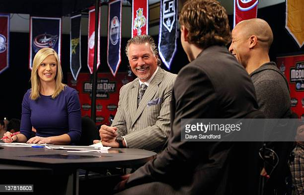 NHL Network broadcaster Kathryn Tappen NHL Network Analyst Barry Melrose interview Team Chara forwards Jarome Iginla of the Calgary Flames and...