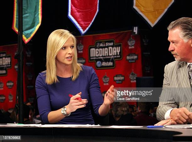 Network broadcaster Kathryn Tappen speaks as NHL Network Analyst Barry Melrose looks on during a NHL Network broadcast at the 2012 NHL AllStar Game...